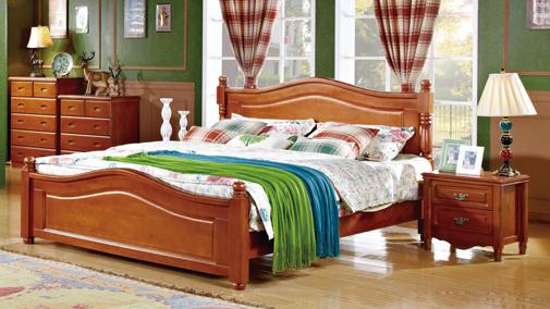 美式成品 床 ?#30340;?#22823;床 柏木双人床