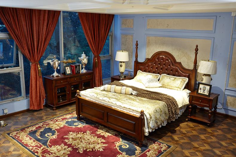 美式成品 床 全?#30340;?#21452;人床1.8米 小户型真皮床皮艺床主卧室家具