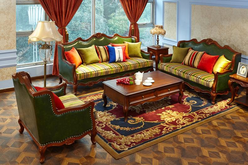 美式成品 沙发 家具沙发 全?#30340;?#27801;发欧式皮艺沙发别墅客厅皮?#25307;?#38386;沙发组合