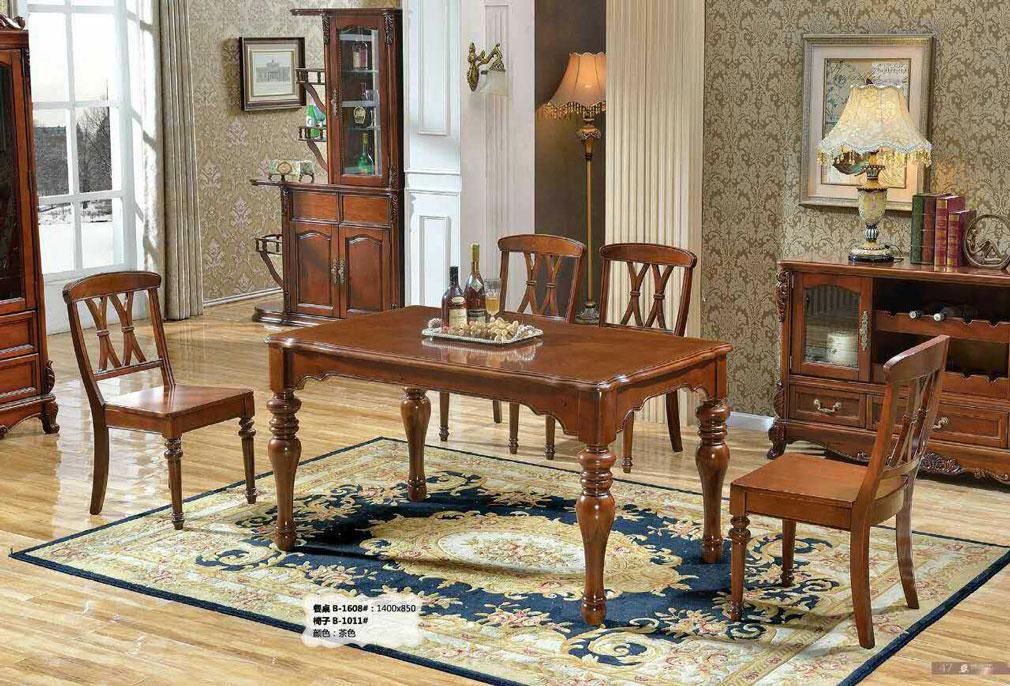 美式成品 欧式实木雕花圆桌餐桌椅