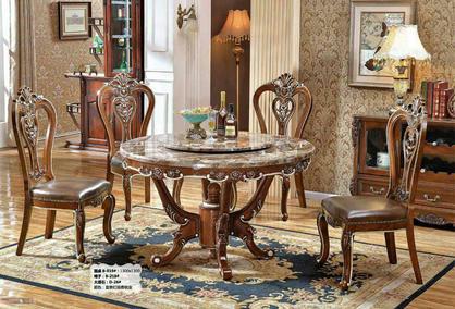 欧式成品 欧式圆桌大理石餐桌椅